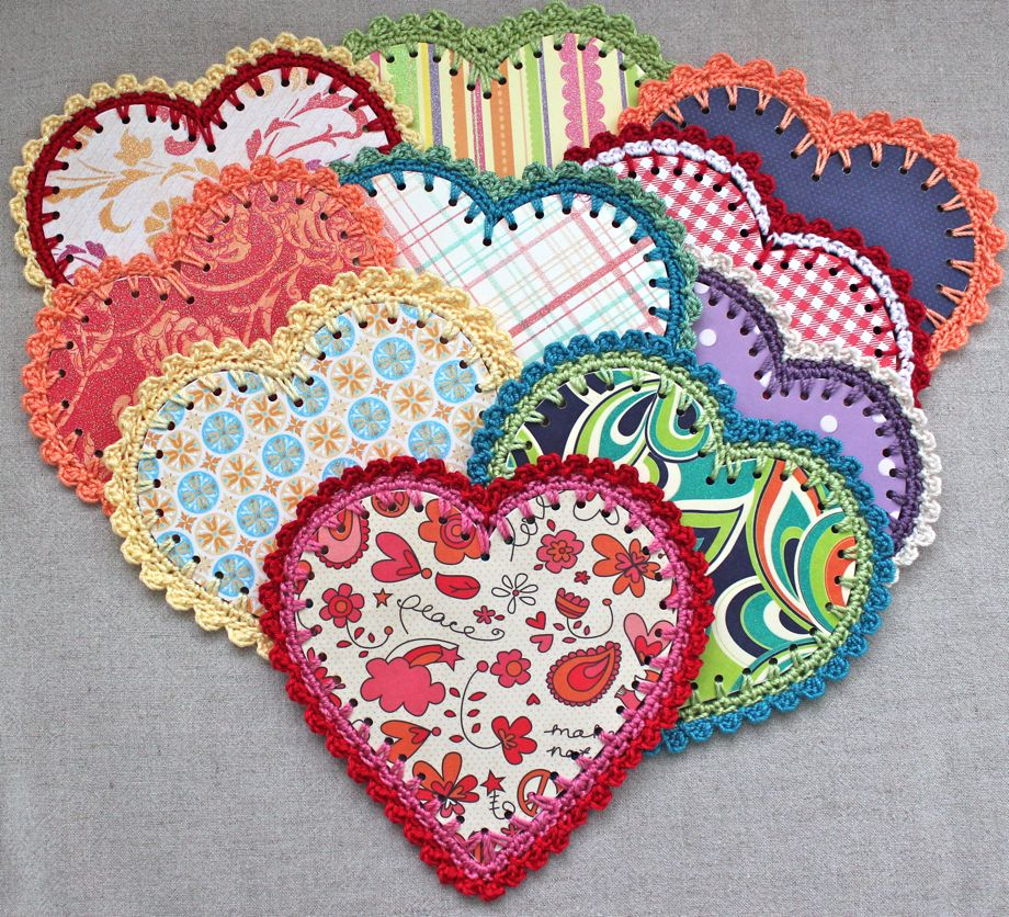 Crocheted Paper Heart Garland