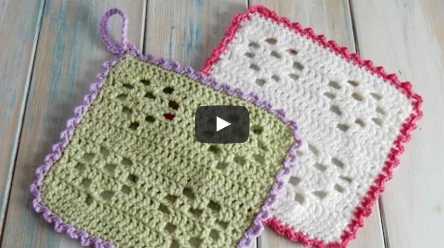 Crochet a Heart Filet Wash Cloth