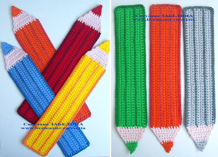 crocheted colored pencils or crayons bookmarks