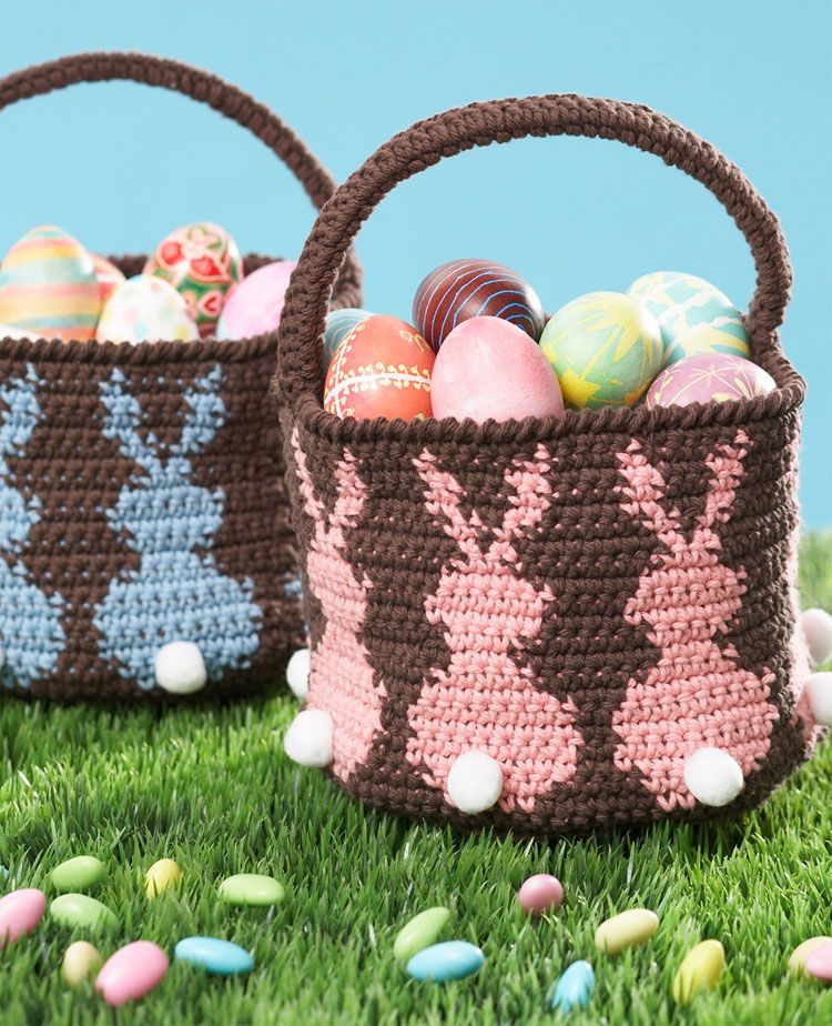 Lily Sugar 'n Cream Bunny Egg Basket crochet pattern