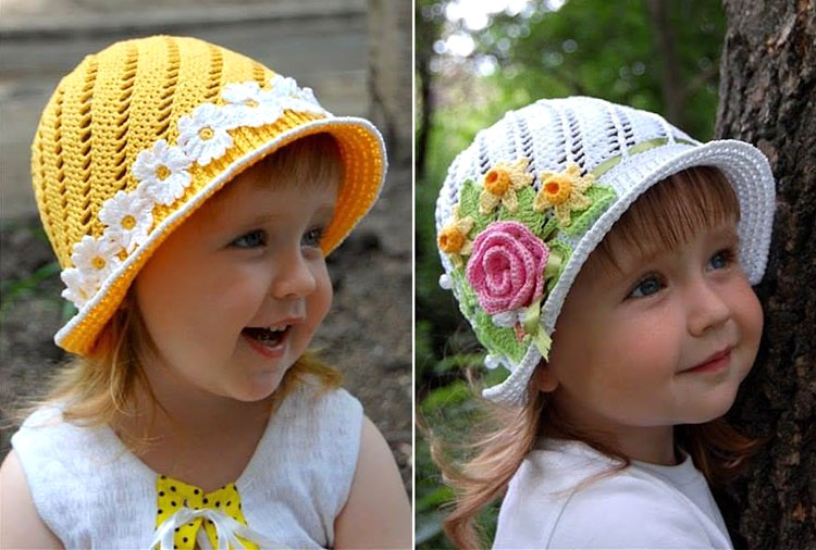 Crochet Girls Spiral Sun hat pattern
