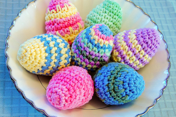 Striped crochet Easter egg patterns
