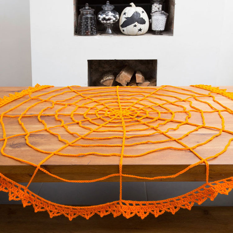 Free Crochet Spiderweb table cloth topper pattern