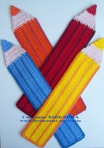Free Crochet Colored Pencils Crayons Bookmark Pattern