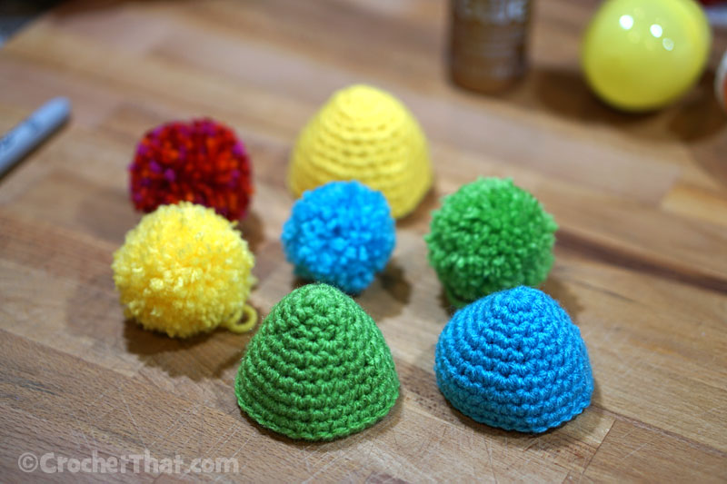 Tiny Crochet Hats to Decorate Plastic Easter Eggs, Making Pom Poms