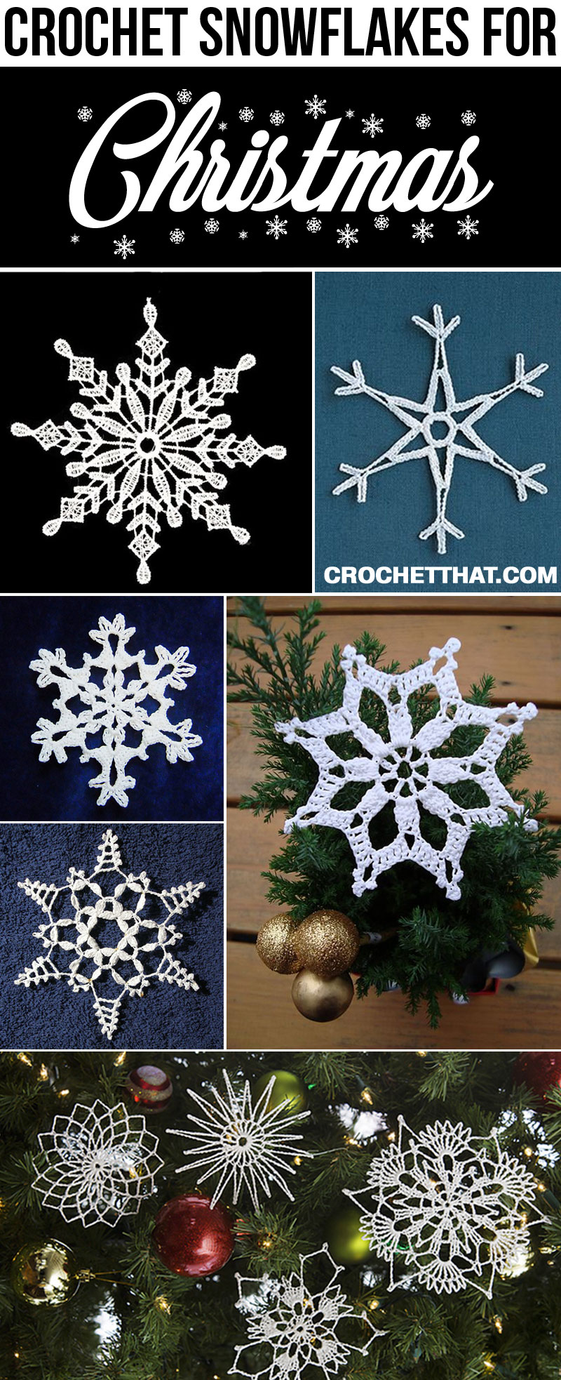 Easy Handmade Crochet Christmas Snowflake Ornaments